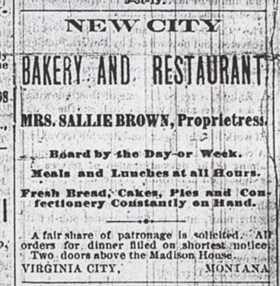 Virginia City Bakery and Salon Historic Advertisement
