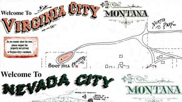 Maps of Virginia City and Nevada City